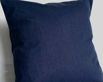 Blue Neck Pillow Cover - 12x16, 12x18, or 14x20 inch Blue Solid Travel Lumbar Cushion Cover  - Navy Dark Blue Solid