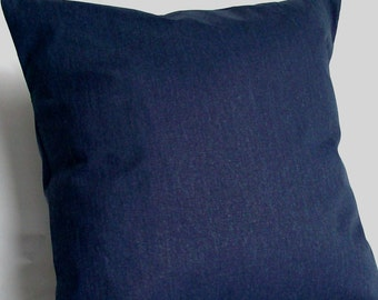 Blue Lumbar Pillow Cover - 12x16, 12x18, or 14x20 inch Blue Solid Travel Neck Cushion Cover  - Navy Dark Blue Solid
