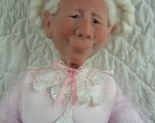 One of a kind, sculpted, original polymer clay art doll