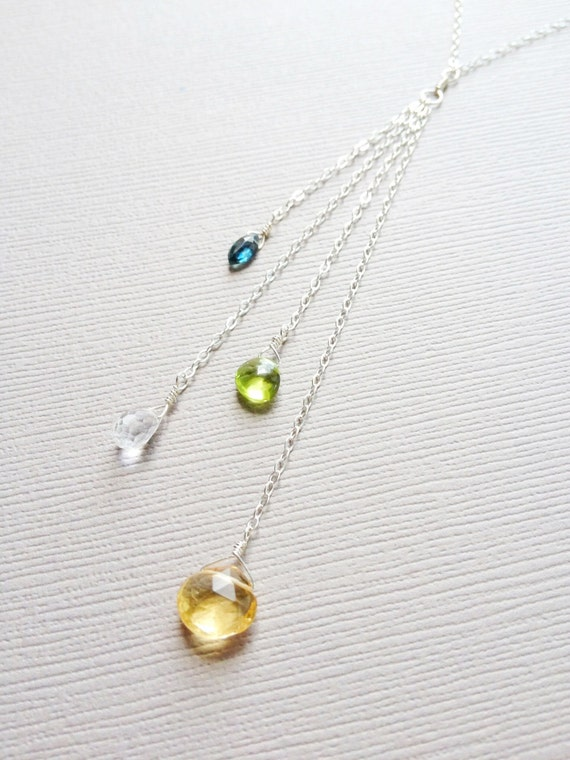 Birthstone Cascade Necklace, Four Birthstone Sterling Silver Mothers Necklace, Family Birthstone Necklace, Grandmother Necklace, 4 Kids