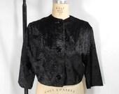 vintage 1950s velvet bolero jacket / size large