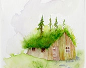 Surrender to the Forest Art Print shabby chic fairy cabin