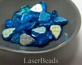 Cornflower Blue Czech Leaf Beads 13mm (20) Pressed Glass Metallic Leaves last