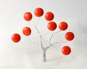 Bright Orange Beads 14mm (10) Czech Opaque Glass Pressed Flat Round