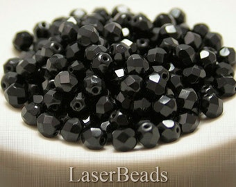Black Czech Fire Polish Round Beads 6mm Faceted (35) Fire Polished Glass Opaque