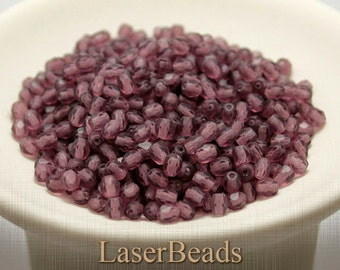 Czech Fire Polished Beads 4mm Frosted Matte Amethyst Faceted (50) last
