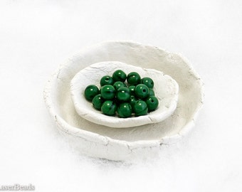 Forest Green Czech Glass Beads 6mm (50) Dark Small Pressed Round Druk