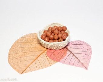 Pink Coral Czech Opaque Glass Beads 8mm (20) Orange Round druk beads. Emberglow Neactarine