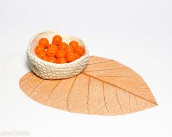 Hot Orange Round Glass Beads 8mm Czech Opaque (20pc) druk beads.