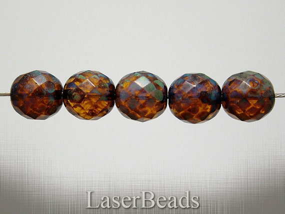 Large Fire Polished Glass Beads 12mm (6) Czech Topaz Brown Picasso Big Last