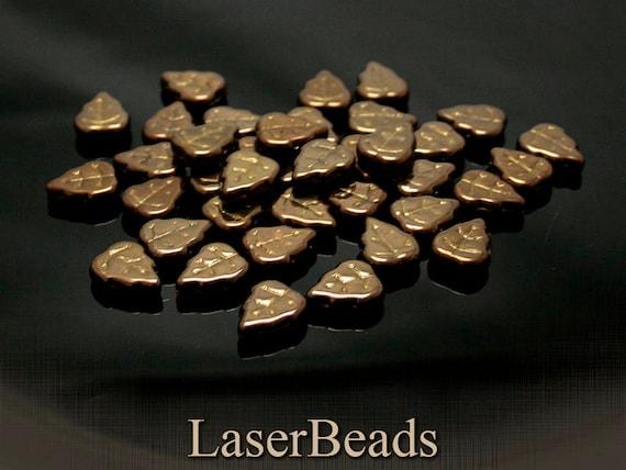 Bronze leaf beads 12mm (12) Metallic Czech Glass Leaves last