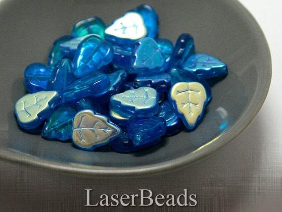 Cornflower Blue Czech Leaf Beads 13mm (20) Pressed Glass Metallic Leaves