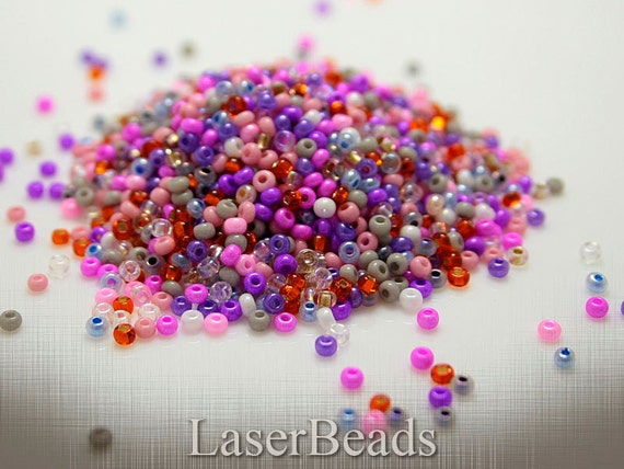 Czech glass seed bead mix 10/0 20g Hot pink Orchid LAST