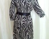Vintage 70s black beige dress shirtwaist silky jungle L XL