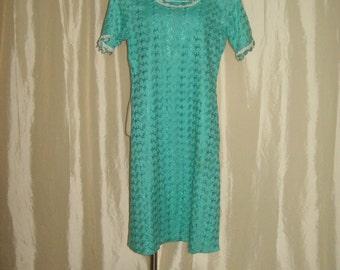 Vintage womens 60s summer dress cotton dress turquoise dress eyelet dress day dress aqua teal dress shift dress