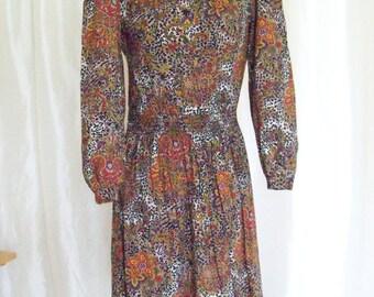 Vintage 80s womens dress size M leopard floral paisley print cotton orange black purple long sleeve