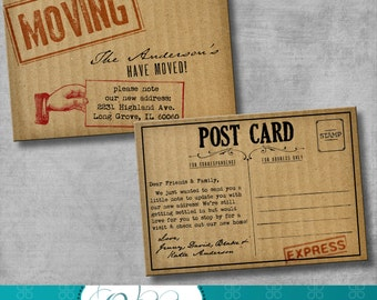 Moving Announcement / Change of Address Cards - Cardboard - DIY - Printable - Customizable