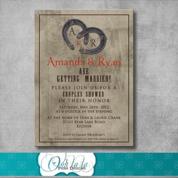 Rustic Charm Couples Shower Invitation - DIY - Printable - Customizable - Western - Country - Invite
