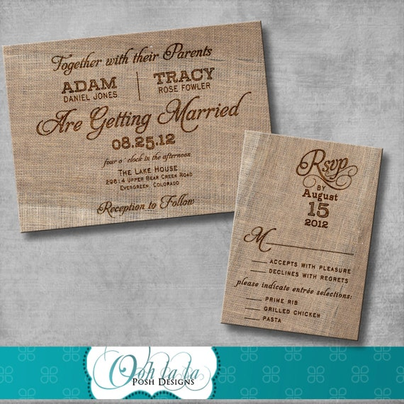 Rustic Burlap Wedding Invitation With Matching Response Card