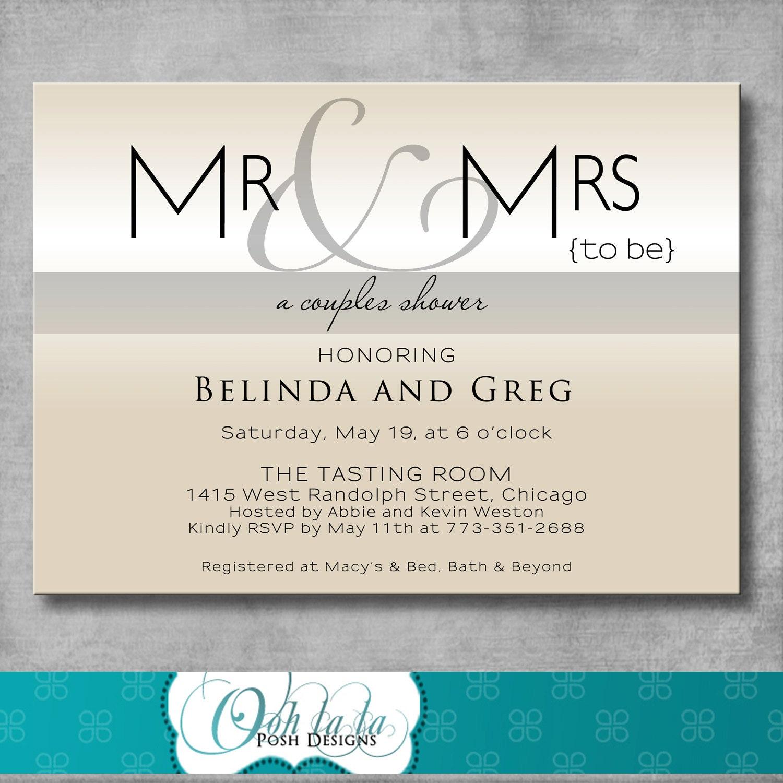 Printable Couples Shower Invitation Modern Mr & Mrs