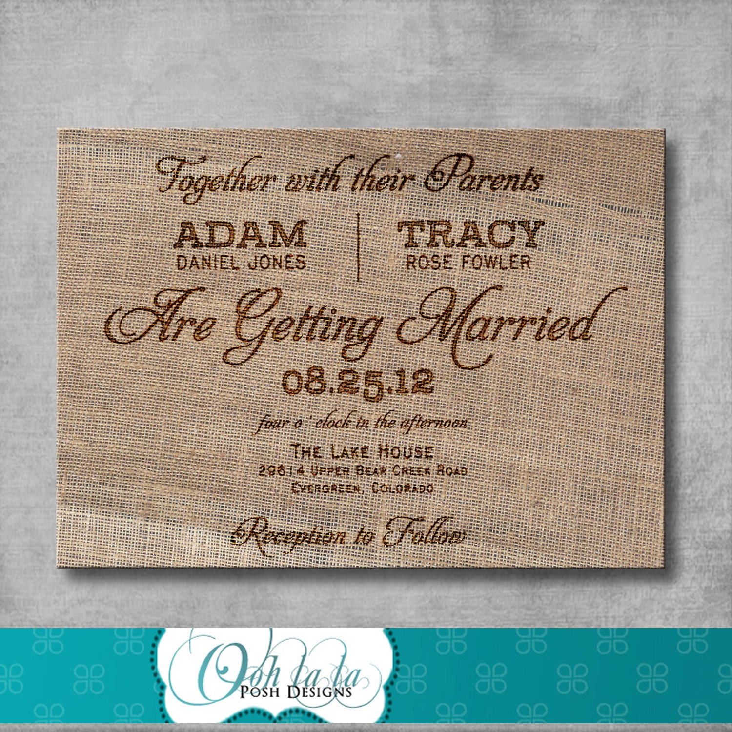 Rustic Burlap Wedding Invitation DIY Printable – Etsy Rustic Wedding Invitations