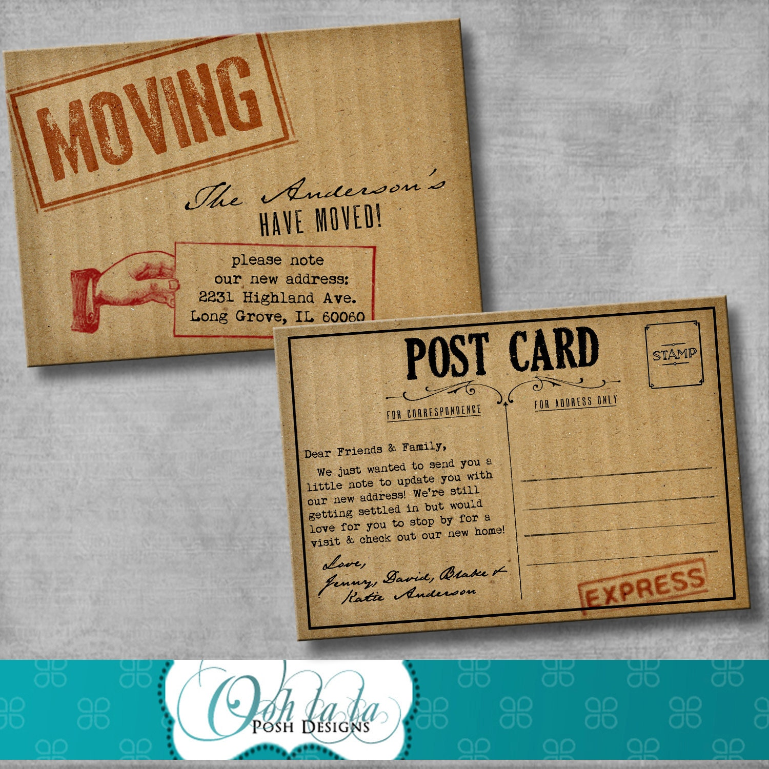 Moving Announcement Change Of Address Cards Cardboard