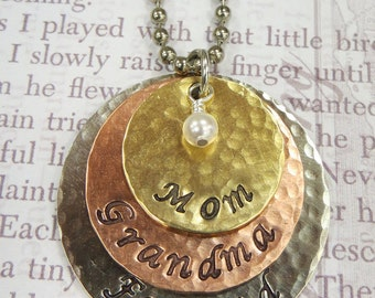 Silver Metal Layered Handstamped Mom or Grandma's Necklace