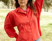 vintage 80's red power blouse