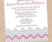 Modern Chevron Wedding or Shower Invitation - DIY Printable