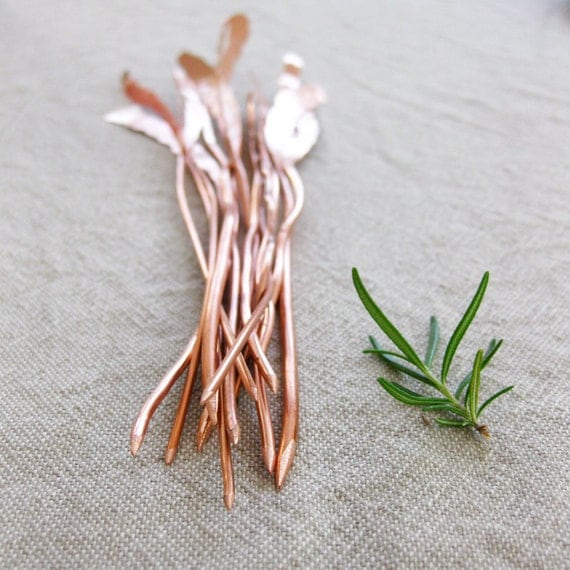 Herb Markers Set of 5 Hammered Textured Recycled Copper Electrical Wire Custom Stamping