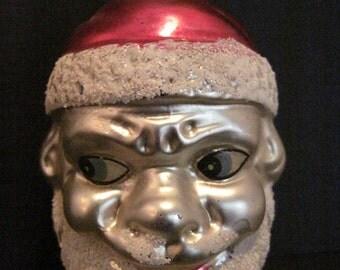 Vintage Glass Santa Christmas Ornament Figural Santa Decoration Creepy Santa Head