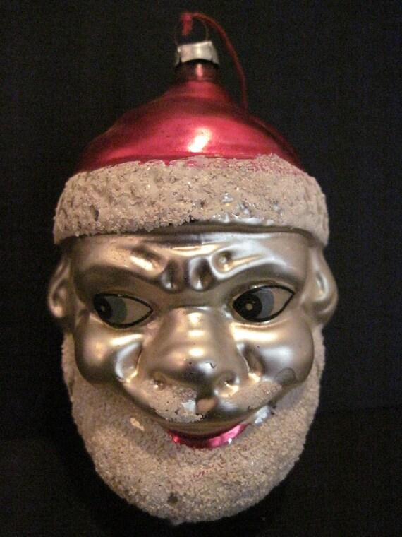 Vintage glass figural santa head christmas holiday ornament