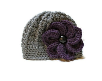 Crochet Flower Hat, Crochet Flower Beanie, Newborn up to Adult, Made to Order