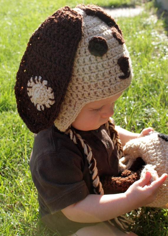 Crochet Brown and Tan Puppy Dog Hat for Baby, 6-12 Months