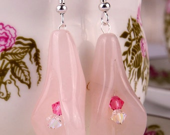 Earrings with pink calla shaped rose quartz gemstones, flower shaped with Swarovski crystals, and sterling silver, modern, pink earrings