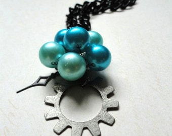 Steampunk Jewelry, gear Jewelry, Teal Beaded Pendant with Gear, Clock Hand necklace, Steampunk Necklace, Victorian Jewelry, clock hand, ooak