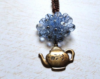 Alice in Wonderland - Teapot Necklace with Blue Beaded Pendant - Spring Jewelry - Steampunk Victorian Jewelry - Alice in Wonderland Jewelry