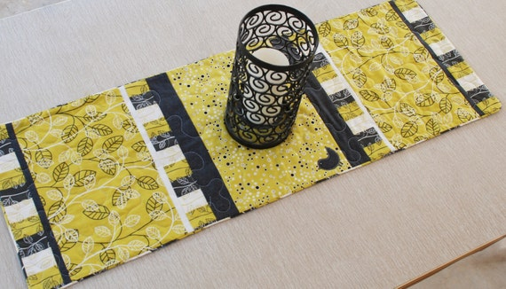 Gray and Yellow Modern Table Runner, Leaves and Bird, Quilted