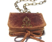 Mini Leather Book Pendant - EDVARD - Victorian Style ChikUna Art - Old Leather - Bronze Decor - Vintage paper sheets - 4x3 cm