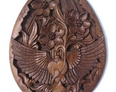 Oval hand carved wood panel New Beginning, TO BE ORDERED, Bulgarian Renaissance style, dove