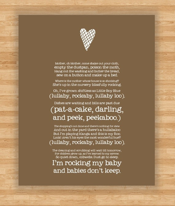 Art Print - Lullaby Poem - Song for a Fifth Child by R.H. Hamilton  - Babies Don't Keep - Brown