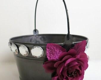 CLEARANCE - Flower Girl Basket - Wedding Flower Girl Basket - Tin Basket - Violet/Red Rose Basket - Storage Basket - Gift Basket