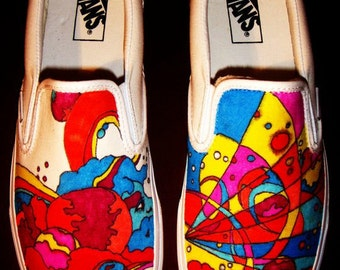 Peter Max Shoes-Hand Painted Canvas Slip-On Shoes-Vans Shoes- Psychedelic Shoes