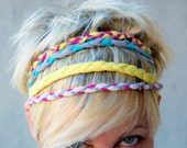 Set of 4 hairband of braided cotton jersey mixed color gray white yellow pink light blu