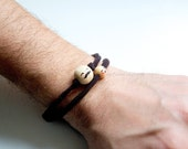 Bracelet gift for men, Fathers Day, father and child two wood pearls,