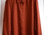 SALE - Rust Brown Cupro Silky Button-up Blouse Shirt, Size Large - XLarge