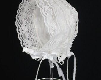 Christening White Lace Baby Bonnet -Savannah