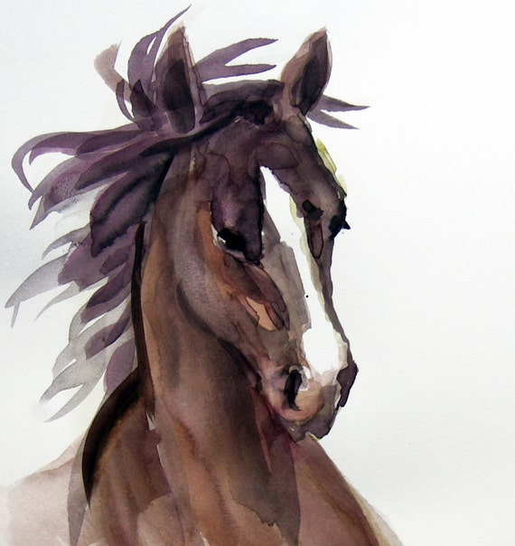 Arabian Chocolate Brown Horse Watercolor Painting, Limited Edition Fine Art print from original watercolor, gift for him, girl gift