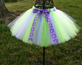 Lavender and Lime Green Tulle Tutu Skirt