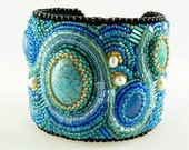 Turquoise, Blue Chalcedony, Freshwater pearls and Japanese Seed Beads, Statement Bead Embroidered Art Cuff. FREE SHIPPING